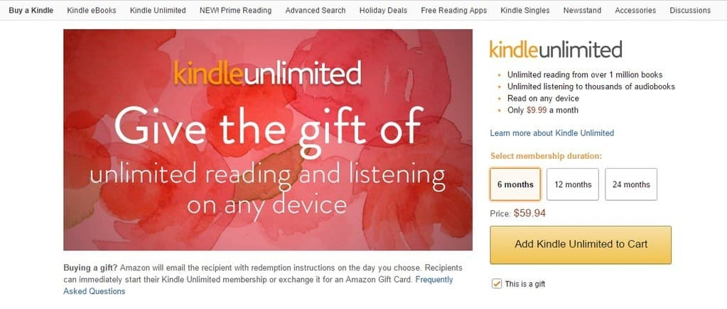 Give the gift of kindle unlimited!