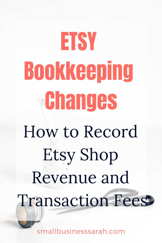 Etsy has updated and changed the payment account. In light of this change, the bookkeeping for your Etsy shop will need to change slightly. Learn how to record your Etsy shop revenues and Etsy shop transaction fees quickly and easily in QuickBooks Simple Start. | SmallBusinessSarah.com