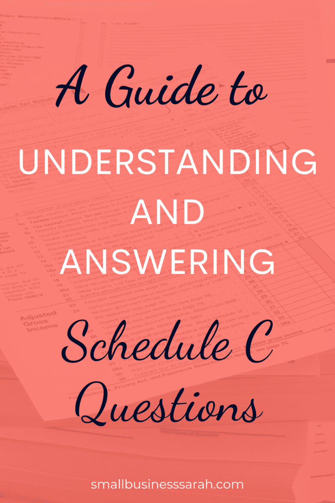 Guide to Understanding and Answering Schedule C Questions