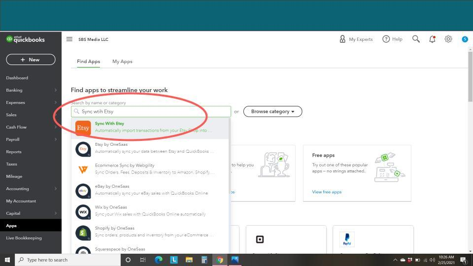 How to Set-Up Sync with Etsy for QuickBooks Online